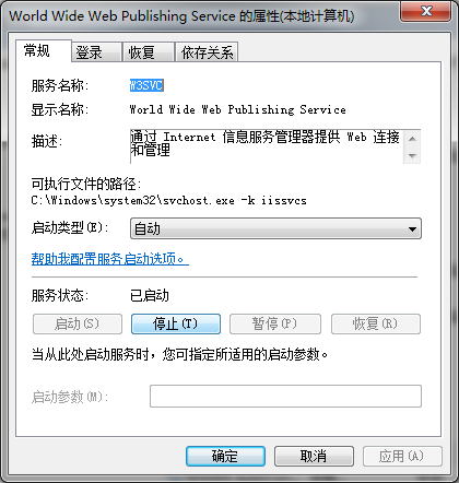 W3SVC(World Wide Web Publishing Service)启动成功